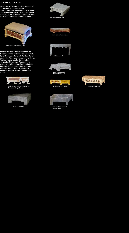 römische Fussbank - scabellum, scamnum, die Möbel der Römer\