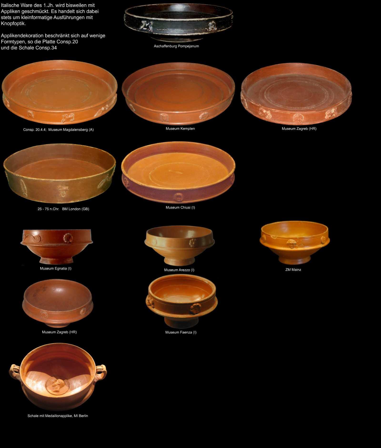 applikendekorierte keramik aus dem r mischen italien. Black Bedroom Furniture Sets. Home Design Ideas